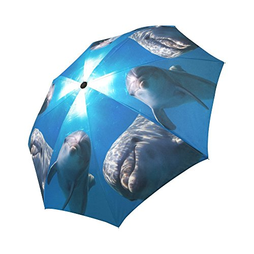 Dolphin Umbrella - InterestPrint Smiling Dolphins Under Sea and Splashing Ocean Waves Windproof Auto Open and Close Foldable Umbrella, Lightweight Portable Outdoor Sun Umbrella with UV Protection