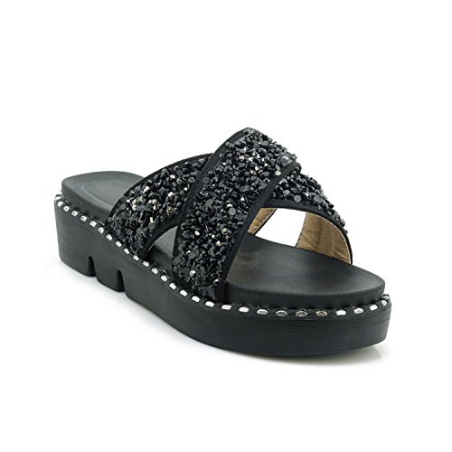 Special-Shop Women Sandals Wedges Heel Pu Leather Women Shoes Platform Bling Round Point Sandals,Negro,7