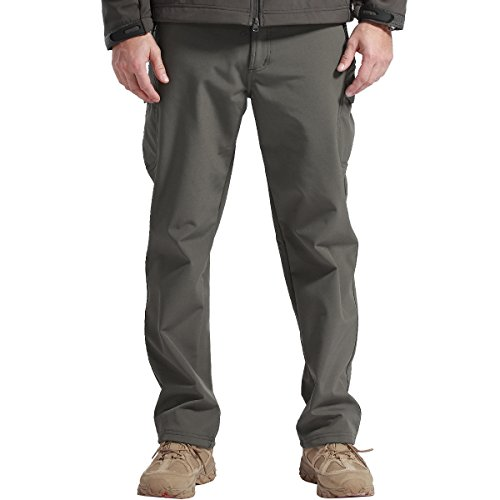 FREE SOLDIER Men's Outdoor Water Repellent Windproof Softshell Fleece Lined Cargo Snow Hiking Pants(Gray 38W/32L X-Large)