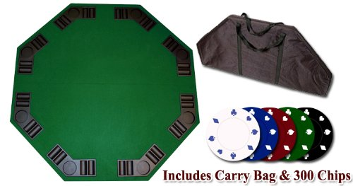 Da Vinci 52'' Folding 8-Player Poker Table Top + 300 Suited Poker Chips & Carry Bag by Da Vinci