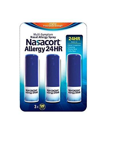 Nasacort Allergy 24 Hour 120 Sprays, 0.57 Fluid Ounce (Pack of 3)
