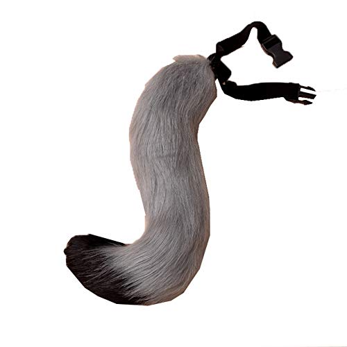 COSFLY Faux Fur Tail for Adult/Teen Furry Wolf Dog Fox Puppy Costume Halloween Party Cosplay Props (Gray Black) ()