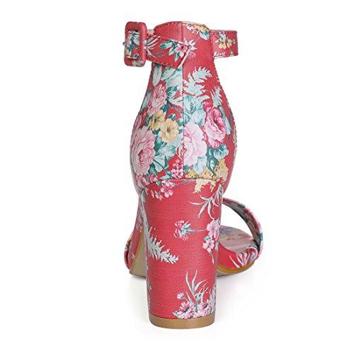 K Zapatos Red De Allegra floral Mujer Tacón RznHWpq