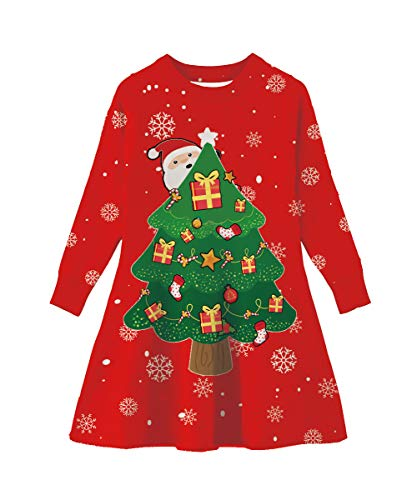 Funnycokid Little Girls Sweater Dress Ugly Christmas Party Santa Xmas Tree Long Sleeve Knitted Dress Red]()