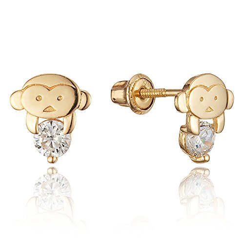 (14k Gold Plated Brass Monkey Cubic Zirconia Screwback Baby Girls Earrings with Sterling Silver Post)