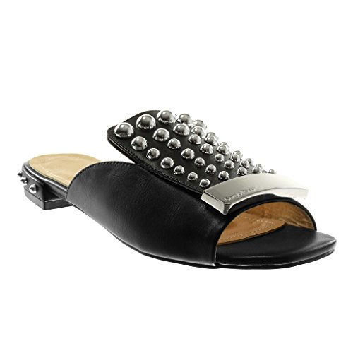 Angkorly Women's Fashion Shoes Sandals Mules - Slip-on - Pearl - Studded - Metallic Block Heel 2 cm Black Y4rJs
