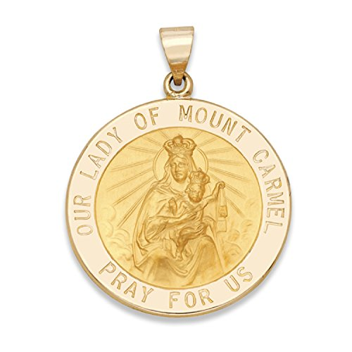 Genuine 14K Yellow Gold Round Our Lady of Mount Carmel Medal (7/8