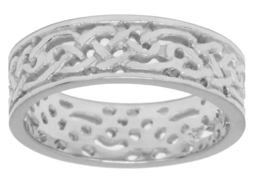 mens 14k white gold irish celtic knot wedding ring band size - Celtic Knot Wedding Rings