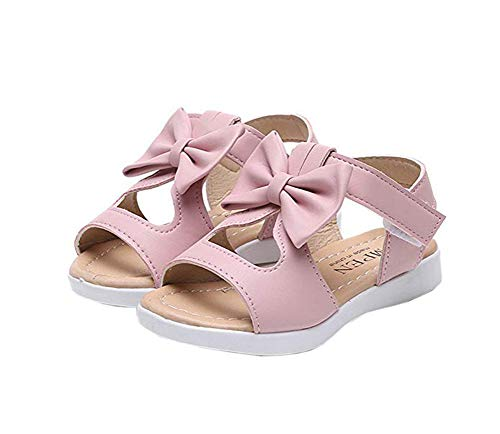 Toddlers Cute Shoes - Vokamara Big Girls Fashion Bow Sandals Summer Shoes Pink 22
