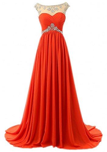Long Prom Dresses Beading Bridesmaid Strapless Olidress Chiffon Women's Orange qn7xwOBH