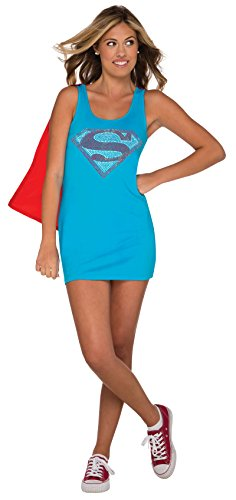 Rubie's DC Comics Justice League Superhero Style Teen Dress with Cape Rhinestone Supergirl, Blue, Small Costume