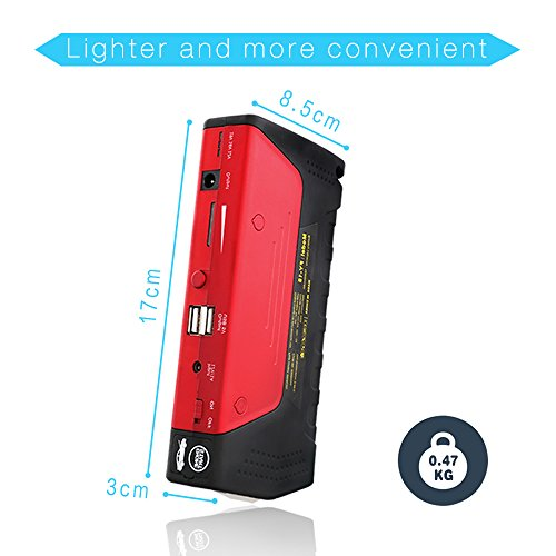 Car Jump Starter 600A Peak Up to 6.0L Gas or 4.5L Diesel Engine Tire Inflator Premium Portable Phone Power Bank Auto Battery Charger Pack Booster with Dual Quick Charge Output Built in LED Light & USB by fustrong (Image #3)