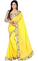 Slocky Women's Chiffon Saree (Aash_Ylw_Xx12_Yellow)