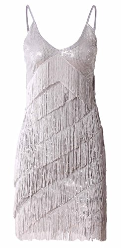 [JustinCostume 1920s Sequins Tassel Gatsby Cocktail Latin Party Dress, Large, Silver] (Latin Themed Party Costume)
