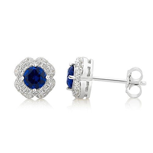 Sterling Silver Blue and White Sapphire Stud Earring by DiamondMuse