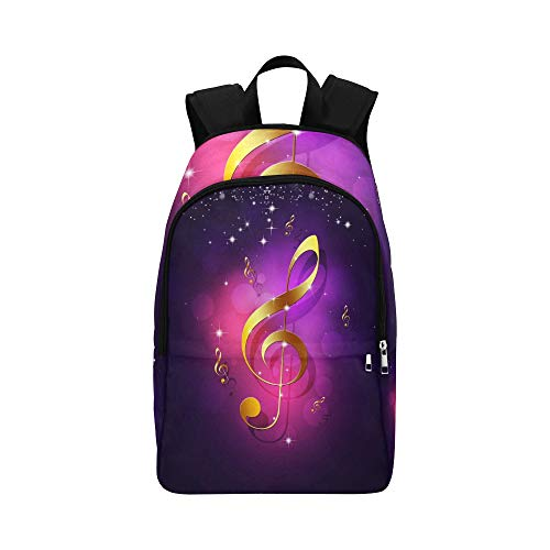 YPink Abstract Golden Music Notes On Red Background Casual Daypack Travel Bag College School Backpack Mens Women