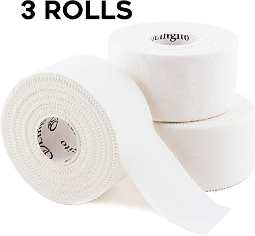 Athletic Sports Tape (White) | Strong Easy Tear |Perfect for Bats/Lacrosse/Hockey Sticks/Climbers and Boxing (3 Pack) ()