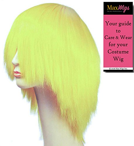 or White - Lacey Wigs Straight Clown Adult Synthetic Full Bang Hair Over the Eyes Bundle with MaxWigs Costume Wig Care Guide (Deluxe Clown Wig)