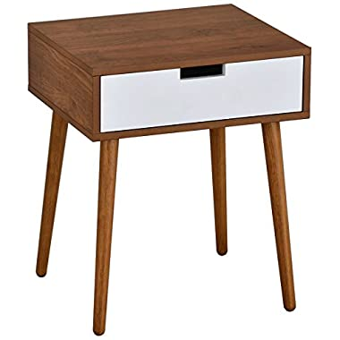 Light Walnut/White Side End Table Nighstand with Drawer 22.5 H