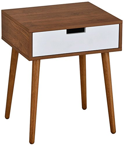Light Walnut White Side End Table Nighstand with Drawer 22.5 H