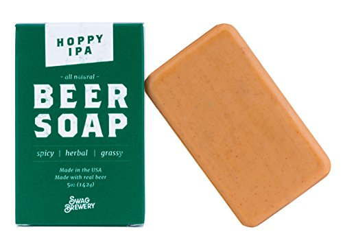 (Hoppy IPA BEER SOAP | Cool Guys Gift for Beer Drinkers, Men, Grooming, Father's and Valentine's Day | All Natural + Made in USA | Man Cave Approved)