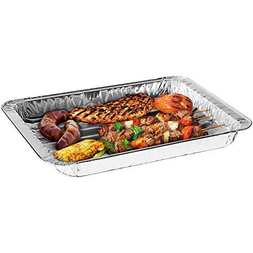Disposable Aluminum Foil Broiler Pans (10 Pack) - Broiler Pans for Oven - Durable Broiling Pans with Ribbed Bottom Surface for BBQ Grill Like Texture - 13x9 Inch Broiler Pan