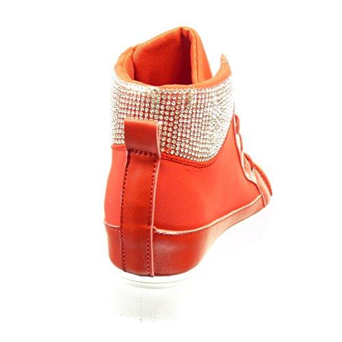 Moda Tacco Strass Scarpe Zeppa Cm 5 Donna Fushia Sneaker Angkorly 6 45qnYY