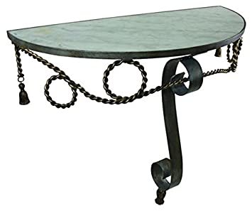 Scroll Tassle Wall Mounted Demilune Table | Console Entry Iron Marble Top