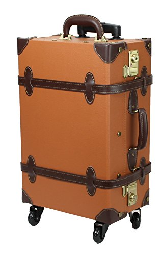 MOIERG Vintage Trolley Luggage suitcase 2tone TSA Camel Small (81-55035-72) (Trunk Suitcase)