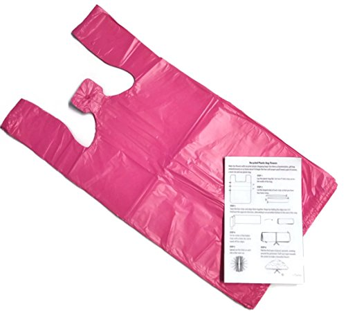 Pink 10x6x21 Medium Plastic T-Shirt Bags (100 Pack) with Crafting Insert - Reusable Retail Shopping Bags