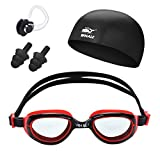 Kids Swim Goggles Set Anti Fog UV Protection Swimming Goggle Swim Cap and Ear Plugs Nose Clip Toys Games Triathlon Equipment for Youth Teens Children Boys Girls Swimmer Gear