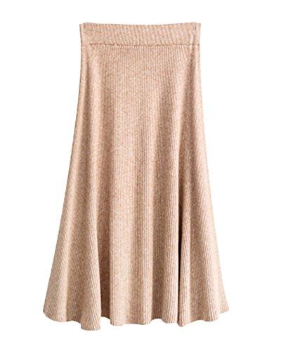 Femmes Hiver A-Line Maix Jupe En Tricot Stretch Pliss Longues Jupes Crayon Tricot Casual Knit Skirt Kaki Clair