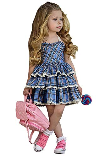 Girls Plaid Dress Baby Girl Plaid Pleated Dress Holiday Party Christmas Casual Dresses (3-4 Years, Blue Girls Plaid Dress 110) -