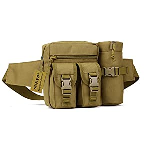 Huntvp Tactical Waist Pack Pouch With Water Bottle Pocket Holder Waterproof Molle Fanny Hip Belt Bag