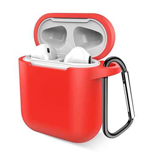 Airpods Case, Music tracker Protective Thicken Airpods Cover Soft Silicone Chargeable Headphone Case with Anti-Lost Carabiner for Apple Airpods 1&2 Charging Case (Airpods 1, Red)