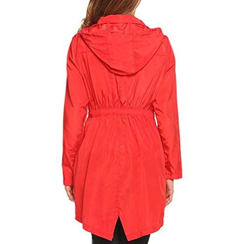 Solar Sólido Protector con Aire Color Rompevientos Chubasquero Mujer Rápido Dooxii Libre Rojo Capucha Seco Moda Impermeable Al Y7qPwX