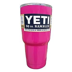 YETI Coolers Rambler Tumbler, Stainless Steel, 30oz,Single (Gloss Hot Pink)