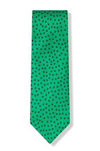 Alynn 100% Silk Green St Patrick's Day Irish Good Luck Shamrocks Necktie Tie Neckwear - Irish Silk Tie