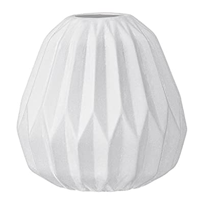 Bloomingville Small White Fluted Ceramic Vase - Made with ceramic Sealed to hold water Wipe clean with a damp cloth - vases, kitchen-dining-room-decor, kitchen-dining-room - 41k3e0qwprL. SS400  -
