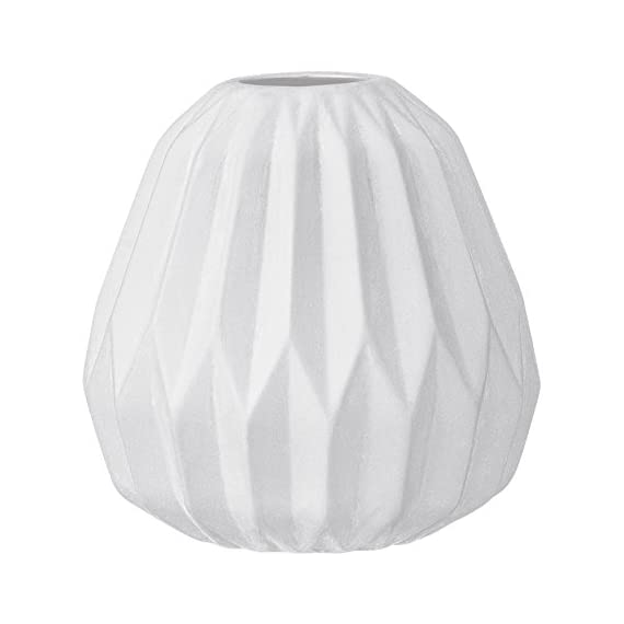 Bloomingville Small White Fluted Ceramic Vase - Made with ceramic Sealed to hold water Wipe clean with a damp cloth - vases, kitchen-dining-room-decor, kitchen-dining-room - 41k3e0qwprL. SS570  -