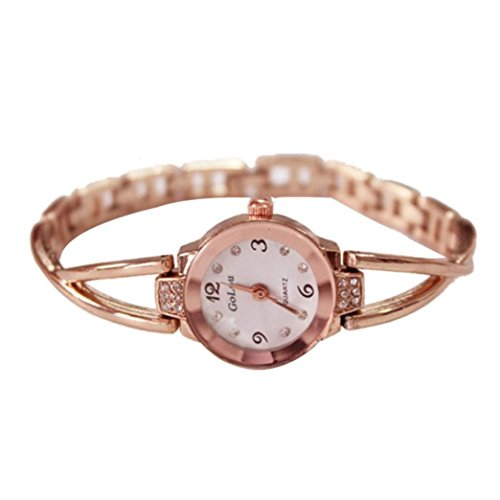 Women Rose Gold Plated Alloy Rhinestone Dial Bracelet Wrist Watch Gift Gold - 9