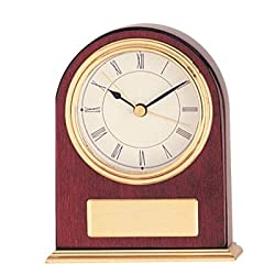 High Gloss Piano Finish Rosewood Quartz Desk Clock with Brass Trim and Plate