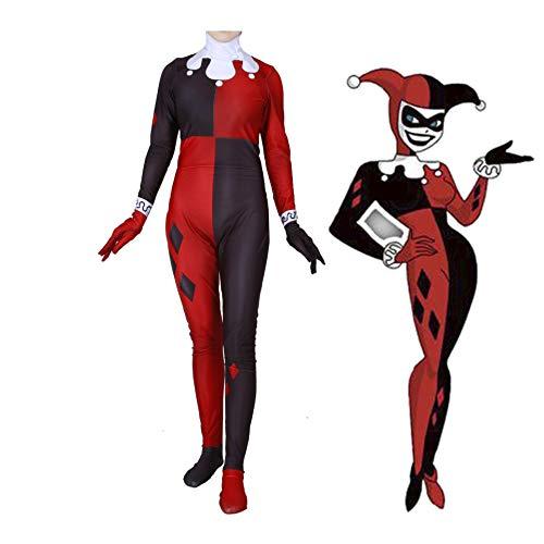 Classic Harley Quinn Clown Joker Jumpsuit Sexy Cosplay Halloween Costume for Women (XXXL) ()