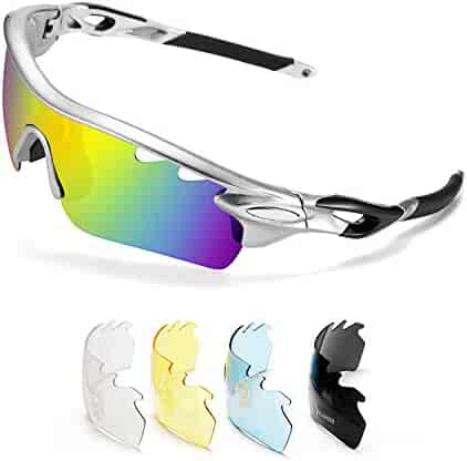 5c8f4623b4 FEISEDY Polarized Sports Sunglasses 5 Interchangeable Lenses Golf Driving  Running Cycling Sun Grasses B2458
