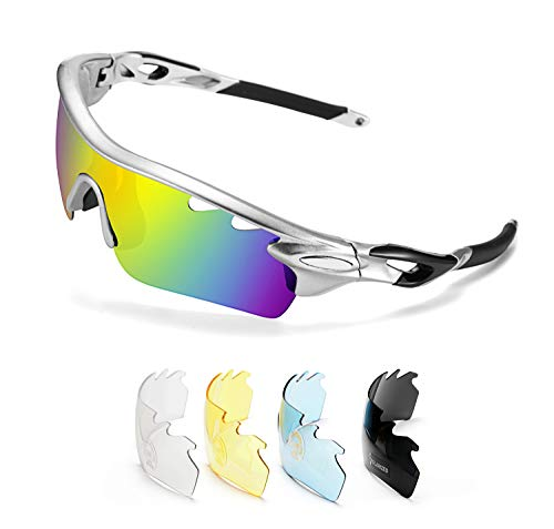 FEISEDY Polarized Sports Sunglasses 5 Interchangeable Lenses Golf Driving Running Cycling Sun Grasses B2458