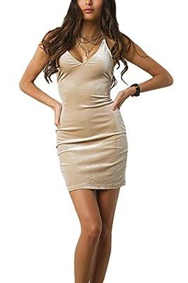 Doramode Womens Spaghetti Strap Bodycon Sleeveless Backless Velvet Sexy Short Club Dress