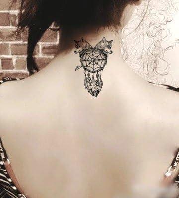 Oottati Tatuajes Temporales Lobo Atrapasueños Indio (2 hojas ...