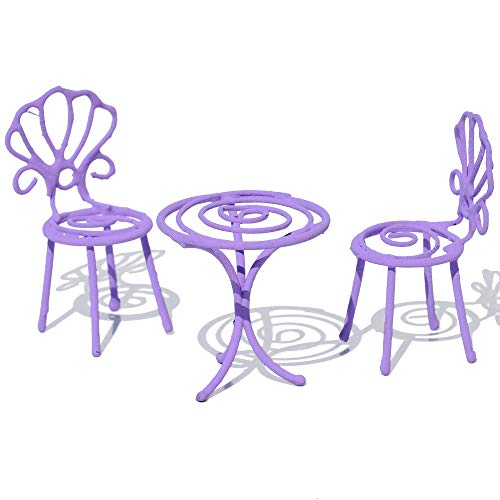 jeremie Party Table and 2 Chairs, Color Choices for Miniature Garden, Fairy Garden, Purple