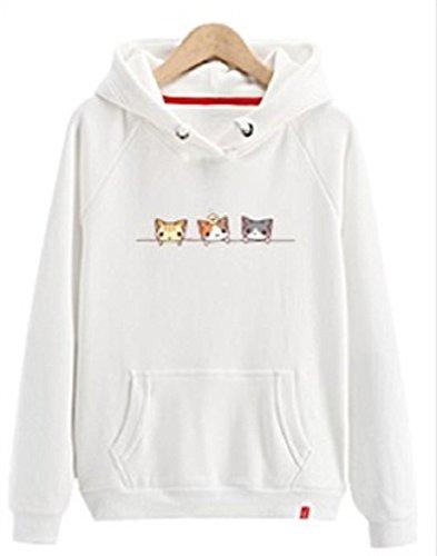 上下する石協力する[Nana_Collection(ナナコレクション)] 秋 春 女性 パーカー 猫 イラスト カジュアル フード付 ポケット付