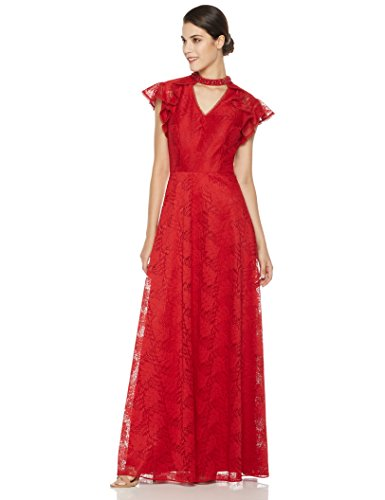 Beaded Evening Gown (Social Graces Women's Beaded V-Neck Choker Floral Lace Flutter Sleeve Evening Gown 16 Rich Red)
